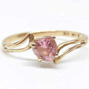 10k Yellow Gold Genuine Pink Sapphire Heart Ring